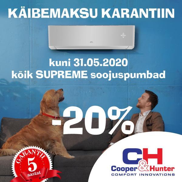 Kuni mai kuu lõpuni kõik Cooper&Hunter Supreme õhksoojuspumbad -20%